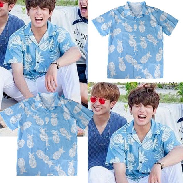 678045a8d9 kpop BTS Bangtan Boys JUNGKOOK same summer loose Short sleeve Fashion  Pineapple print shirt Korean Men and women cotton shirt