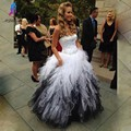 Blanco y negro vestidos de baile vestido de novia fuera del hombro piso-longitud de organza de noche largos formal dress