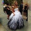 Branco e preto vestidos de baile longo vestido de noite querida off o ombro até o chão organza formal dress