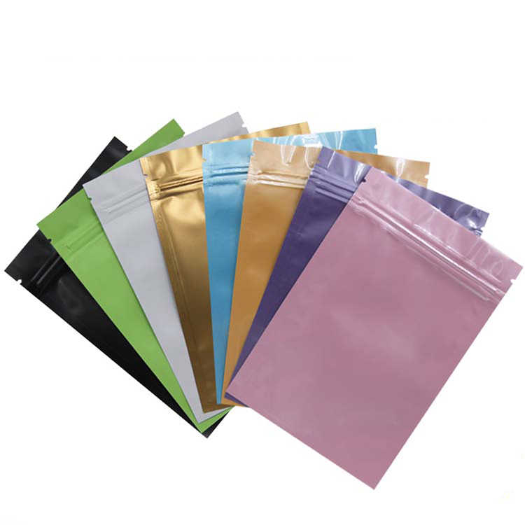 100pcs/lot 4Sizes 7colors matte/glossy Stand up Aluminium Foil Zip Lock Bag Gift packaging bag powder/tea Packing retail package