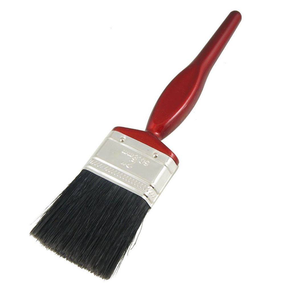 Painter Artist Bristle Handle Paint Brush Painting Tool 2 Inch Wide Black Dark Red Painting Brush Oil Watercolor Art Paint Brush