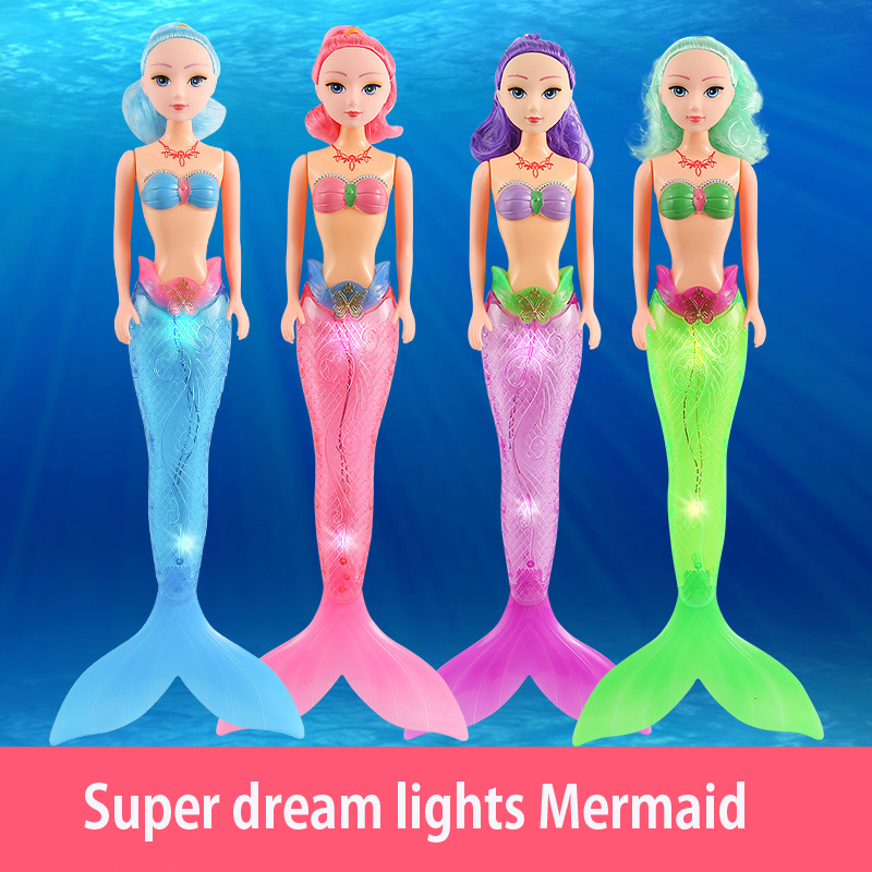 48cm Fashion Ariel Princess Mermaid Doll With LED Light Classic 20cm High Dolls Toy For Girl Birthday Xmas Gifts