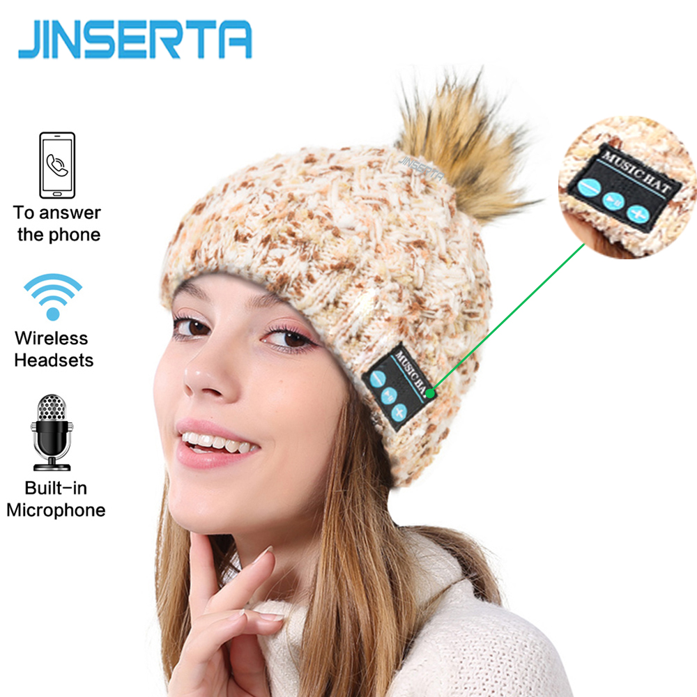 JINSERTA Unisex Wireless Bluetooth Beanie Knitted Winter Warm Music Hat with Built in Stereo Headphone Speaker for Christmas Gif practical outdoor sports bluetooth headphones speaker mic winter warm knitted beanie hat