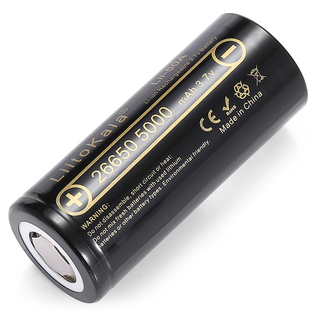 1PCS HK LiitoKala Lii-50A 3.7V 26650 5000mah High Capacity 26650-50A Li-ion Rechargeable Battery for led Flashlight