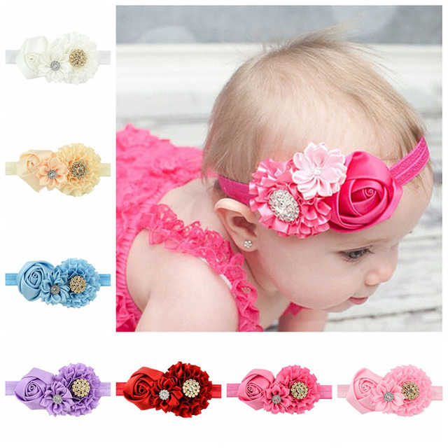 8pcs/lot Rose Flower Headband Baby Girl Crystal Rhinestone Newborn Princess Elastic Hairband Accessories For Children 586