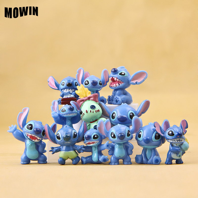 12pcs/lot Stitch Doll Toy Stich Q Scrump Kawaii Action Figures Juguetes Mini Decor Landscape Lilo Doll Collection Toy Best Gift