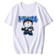 BTFCL Women Tshirt Summer Short Sleeved Cotton White Tops Fashion Cute Robot Cat Print Casual O-Neck Tee Shirt Femme Camiseta