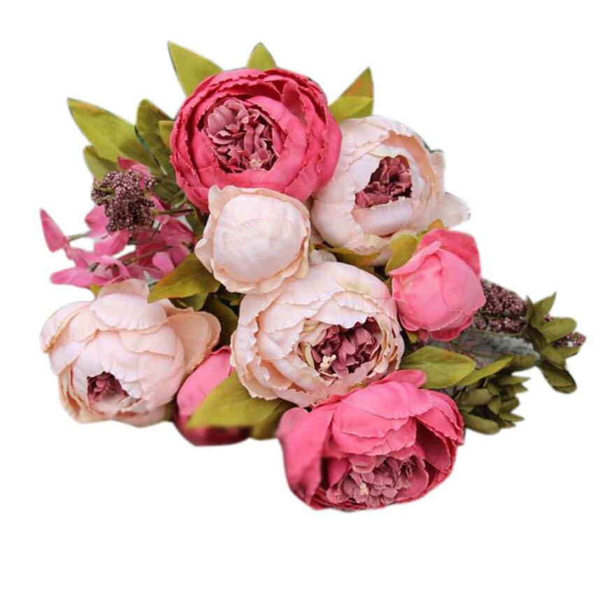 1 Bouquet 8 Cabezas Artificial Peonía Flor De Seda Hoja Wedding Party Inicio Fel