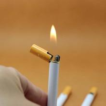 Приколы розыгрыши креативный Мини Компактный струйный Бутан Зажигалка металлическая сигаретная форма надувная Зажигалка сигаретное масло(без газа