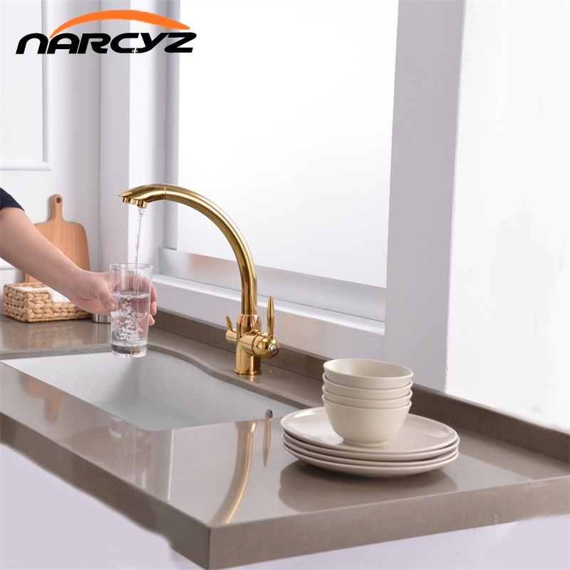 Gold Kitchen Faucets 360 Degree Rotation with Water Mixer Dual Filter Crane Double Handle Tri Flow 3 Way Water Filter Tap XT-124Gold Kitchen Faucets 360 Degree Rotation with Water Mixer Dual Filter Crane Double Handle Tri Flow 3 Way Water Filter Tap XT-124