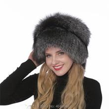 Bravalucia 100% zorro piel completa piel sombrero mujeres invierno Mongolia princesa  sombrero para damas sombrero de piel ruso t. 92a509d5d0e