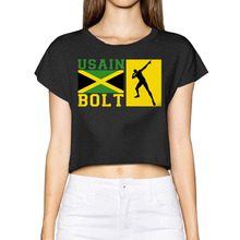 Tumblr Rushed Camisetas 2017 Usain Bolt With Jamaica Flag Women New 3d Summer Fashion Street T Shirt Bare-midriff Sexy T-shirt