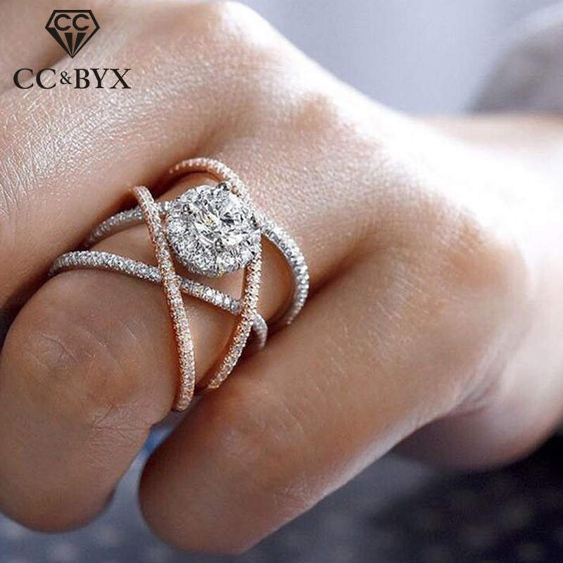 CC Luxury Rings For Women Creative Cross Cubic Zirconia Bridal Ring Wedding Engagement Anel Anillos Mujer Drop Shipping CC2214 1