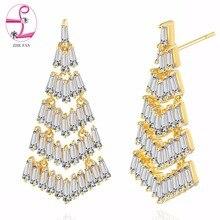 ZHE FAN Luxury Geometric Tiered Tassels Dangle Earrings Women 6 Layered Trapezoid AAA Cubic Zirconia Jewelry Christmas Gift