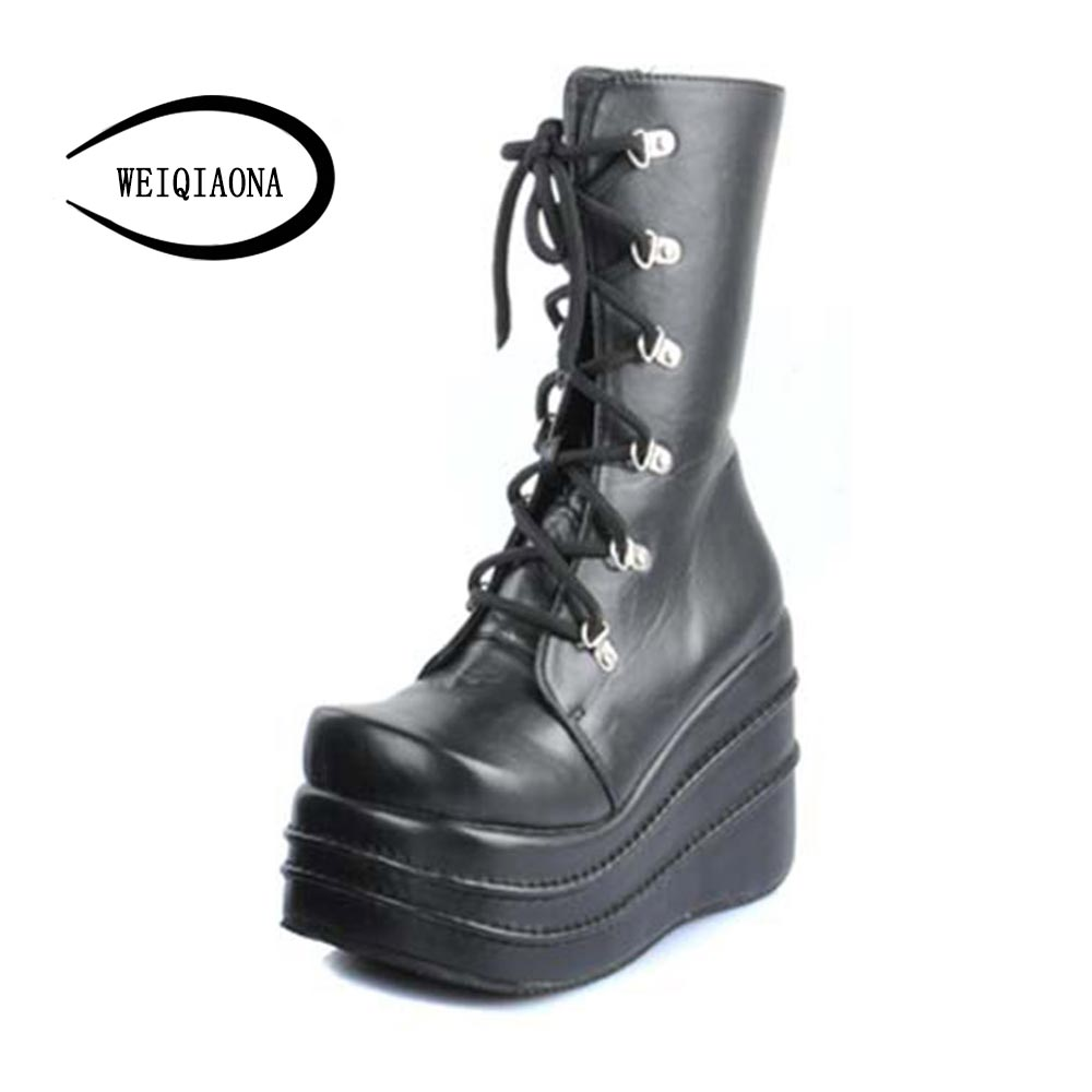 Female boots 2017 winter new lace sexy locomotive boots thick end of the fashion district leisure boots small warm