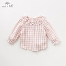 DB11649 1 デイブベラ秋ベビーかわいいチェック柄シャツ幼児綿 100% トップス子供高品質の服