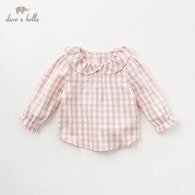 DB11649 1 Dave Bella thu đông cho bé gái dễ thương kẻ sọc áo sơ mi trẻ sơ sinh bé 100%, chất liệu cotton trẻ em chất lượng cao quần áo