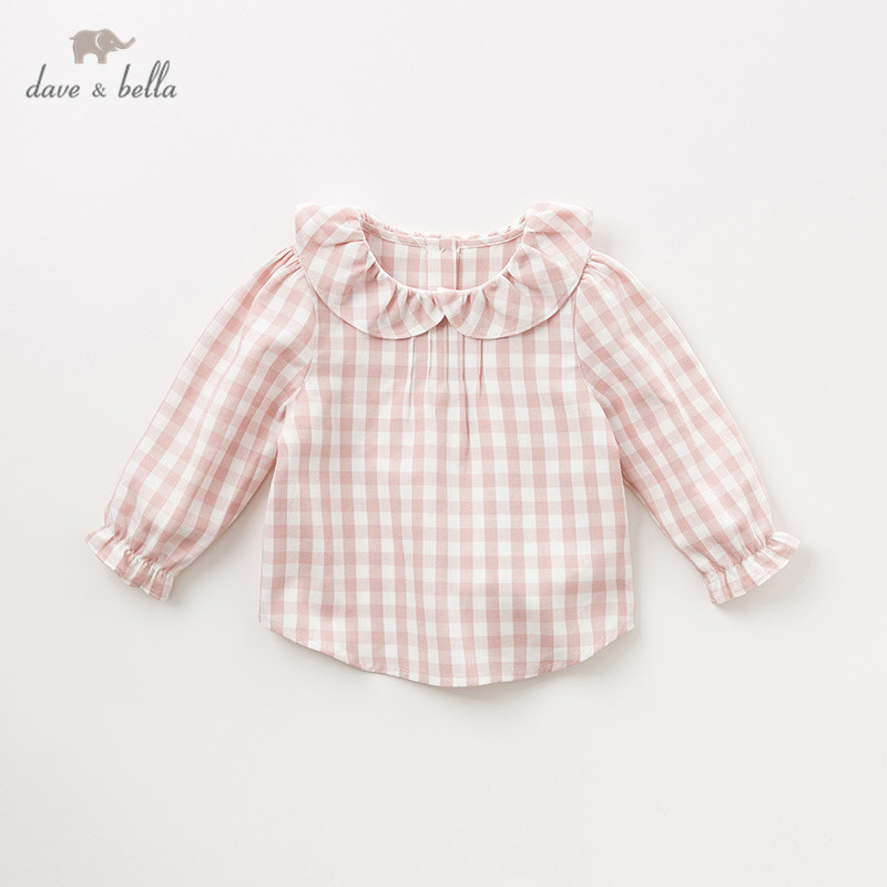 DB11649-1 dave bella autumn baby girls cute plaid shirts infant toddler 100% cotton tops children high quality clothes