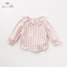 DB11649 1 dave bella jesień dziewczynek śliczne koszule w szkocką kratę niemowlę maluch 100% bawełniane topy wysokiej jakości ubrania dla dzieci