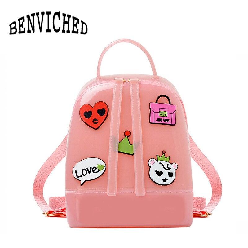 ed58e5321c52 BENVICHED 2019 Новая модная женская Милая весенне-летняя силиконовый рюкзак  женские дорожные сумки школьная сумка для девочек женская сумка на пл.
