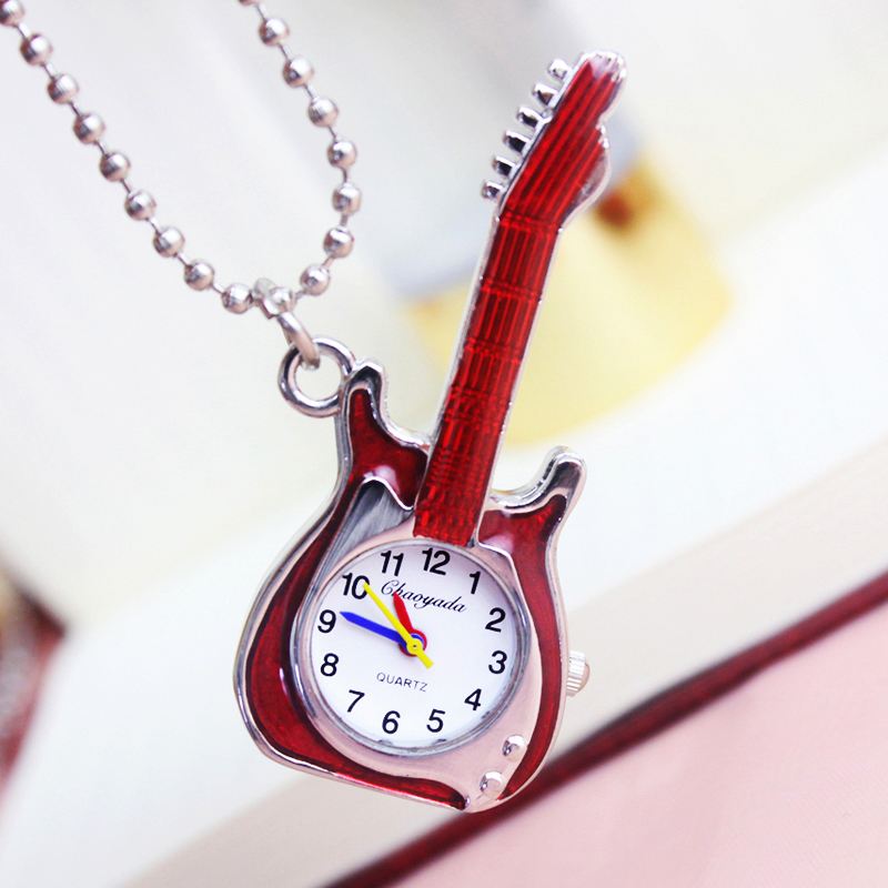 2018 Cyd Vintage Design Guitar Women Girls Quartz Creative Pocket Watch Children Personality Key Chains Portable Pendant Watches