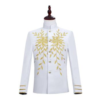Embroidery clothes men suits designs homme terno stage costumes singers jacket men blazer dance star style stand collar white