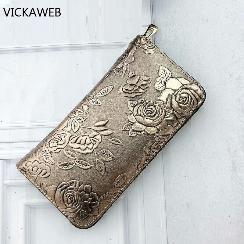 new women wallets and purses genuine leather female purse long style floral ladies wallet luxury brand money bag luxury brand wallet women genuine leather purses long style ladies wallets crocodile pattern slim money bag
