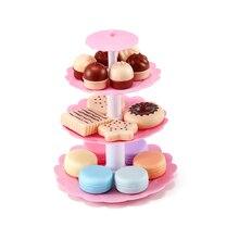 Girl Pink Cake Tower Mini Cookie Food Set Plastic Kitchen Toys Role Play Simulation Birthday Cake Kid Pretend Play Birthday Gift diy simulation fruit cake birthday toys set 54pcs