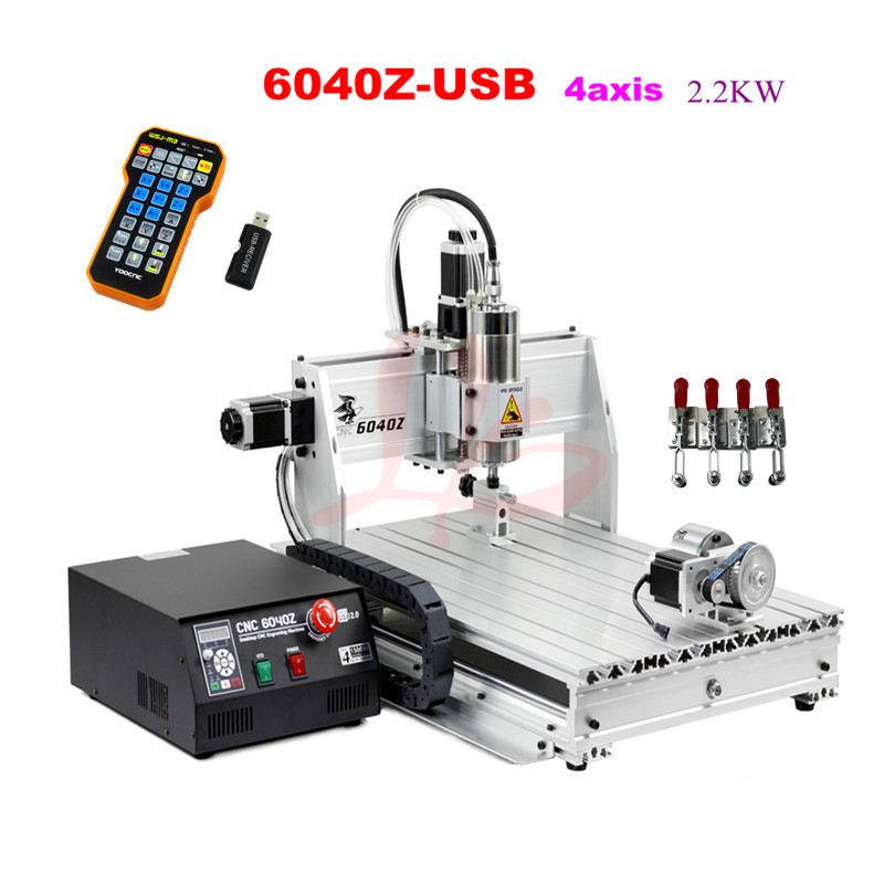 6040Z-USB 4axis 2.2KW cnc engraving machine with mach3 remote control limit switch wood cnc router no tax to Russia no tax to russia cnc6040z usb 4axis engraving machine with mach3 remote control with 1 5kw spindle and ball screw