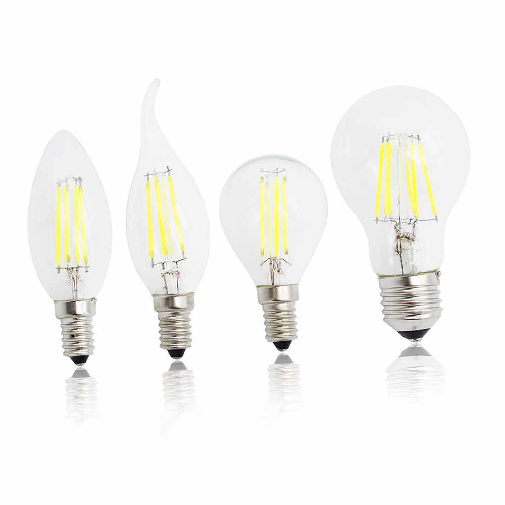 E27 LED Filament Light Glass Housing Bulb E14 Lamp 220V 4W 8W 12W 16W 360 Degree Edison chandelier Replace Incandescent Dimmable
