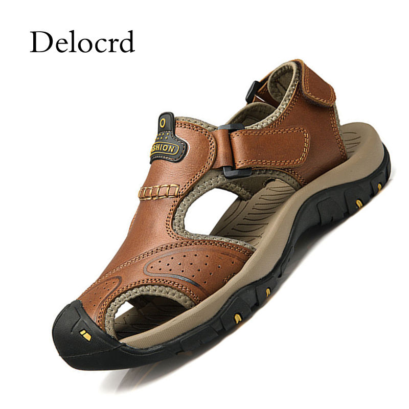 Mens Sandals Genuine Leather Plus Size 38-47 New Summer 2018 Retro Beach Men Casual Shoes Comfortable Outdoor Sandals Delocrd