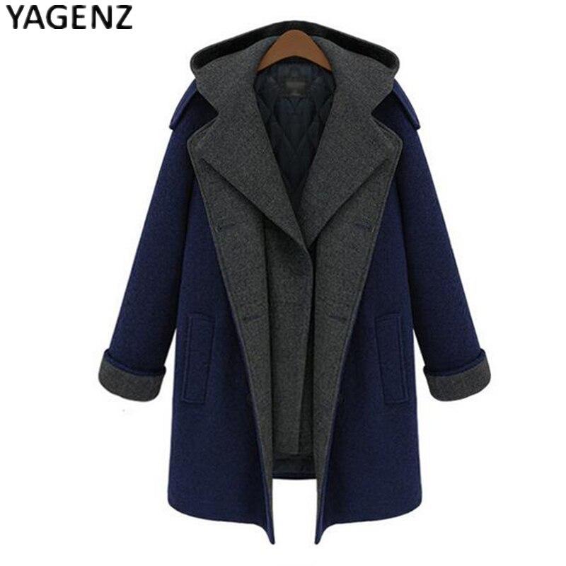 Laine Yagenz D'hiver Plus Manteau Long De Cachemire Navy Bleu Mode 2017 La Veste Chaud Taille Europe 5xl À Femmes Capuche Épaissir r6Ewa6
