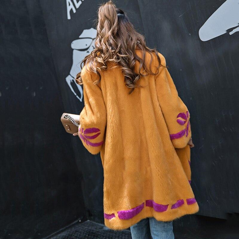 Fansty2017 Le M Bas Femmes Manteaux Vers Tournent Manteau La Fourrure Vraie Moyen Pleine De Hiver Impression Orange Manches Coloré Y Shuba Vison p5q56