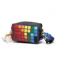 NEW Famous Brand Rubik S Cube Pattern Designer Handbag Rainbow Color Women Geometry Laser Handbags High