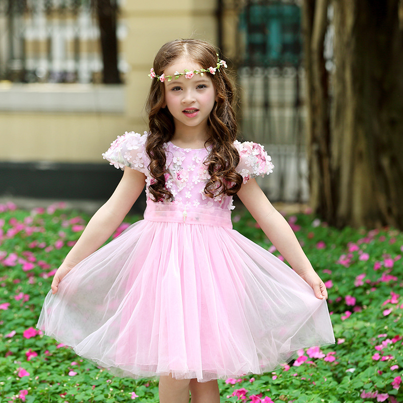 Summer Girls Dress 2017 New Fashion Princess Lace Puff Sleeve Tulle Party Wedding Dresses Kids Dress For Girls 3-13Y DQ240