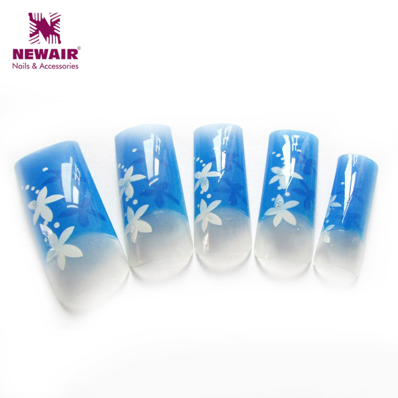 Sex Nail Art Tips Beautiful Flowers Rhinestones Design French Airbrush Nail Tips Mix Makeup Half Cover Nail Art Tips image