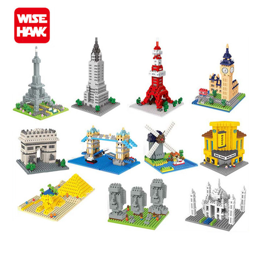 WiseHawk Hot World Famous Architecture Micro Bricks Sphinx Big Ben DIY Intelligence Diamond Model Nano Building Blocks Kids Toys wisehawk new arrival japanese anime cartoon nano blocks diy assembly diamond large model micro bricks figure christmas toy gifts