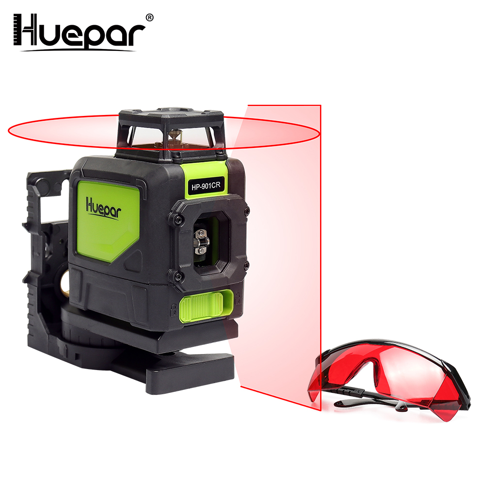 Huepar 5 Lines Red Laser Level Cross Line 360 Rotary Vertrical Horizontal Self leveling Lasers Sets