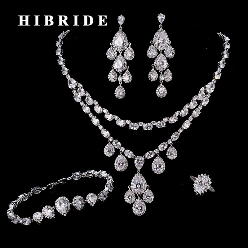 HIBRIDE Brand Water Drop Around Big Cubic Zircon Jewelry Sets White Gold-Color Necklace/Ring/Bracelet/Earring N-210 hibride luxury top quality white green water drop shape cubic zirconia jewelry sets white gold color necklace earrings n 057