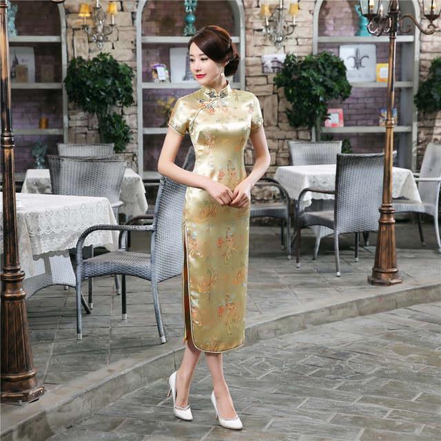 d021243c3 Online Shop 15Colors Chinese Traditional Dress Female Silk Satin Cheongsam  Short Sleeve Long Dress Qipao Flower Print Split Wedding Dress | Aliexpress  ...