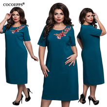 2018 Spring 6XL Plus Size Women Dress Embroidery Dresse Large Size Clothing Big Sizes female Office Evening Party Dress vestidos