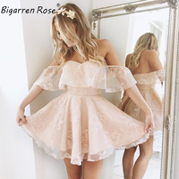 Women Elegant Vintage Cute Lace Dresses Pink Off The Shoulder Dress Sexy Neckless Dresses Party Dress