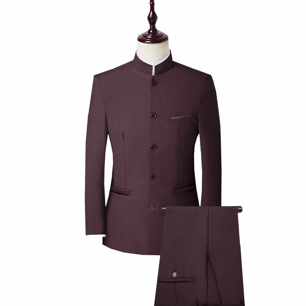 男性 3 ピーススーツ (ジャケット + パンツ + ベスト) 中国風のスタンドカラースーツ男性結婚式新郎スリムフィットプラスサイズ 4XL ブレザーセットタキシード