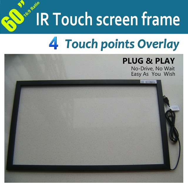 """Free Shipping  60"""" IR Multi touch screen Overlay /frame without glass, Real 4 points touch, Use in LCD/LED Monitor and PC"""