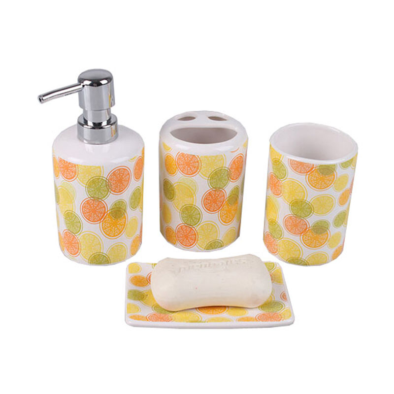 Lovely Bright Lemon Ceramic Bathroom Accessories Set Cute Kids Bath Set Eco Friendly Stocked