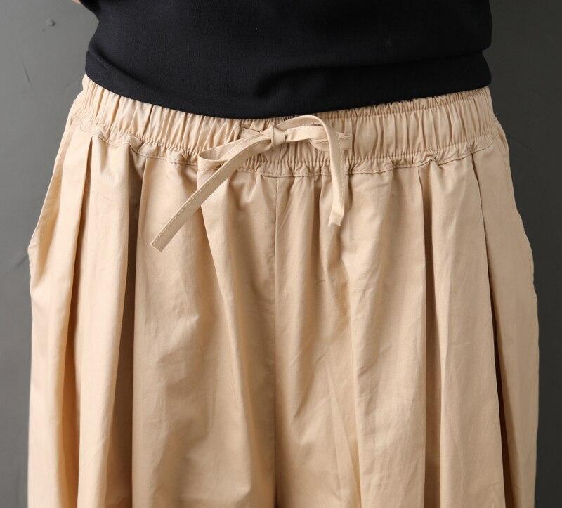 0609 Wide Leg Pants Loose Casual Elastic Waist Cotton Linen Pleated Pants Women Korean Fashion Calf length Trousers Big Size in Pants amp Capris from Women 39 s Clothing