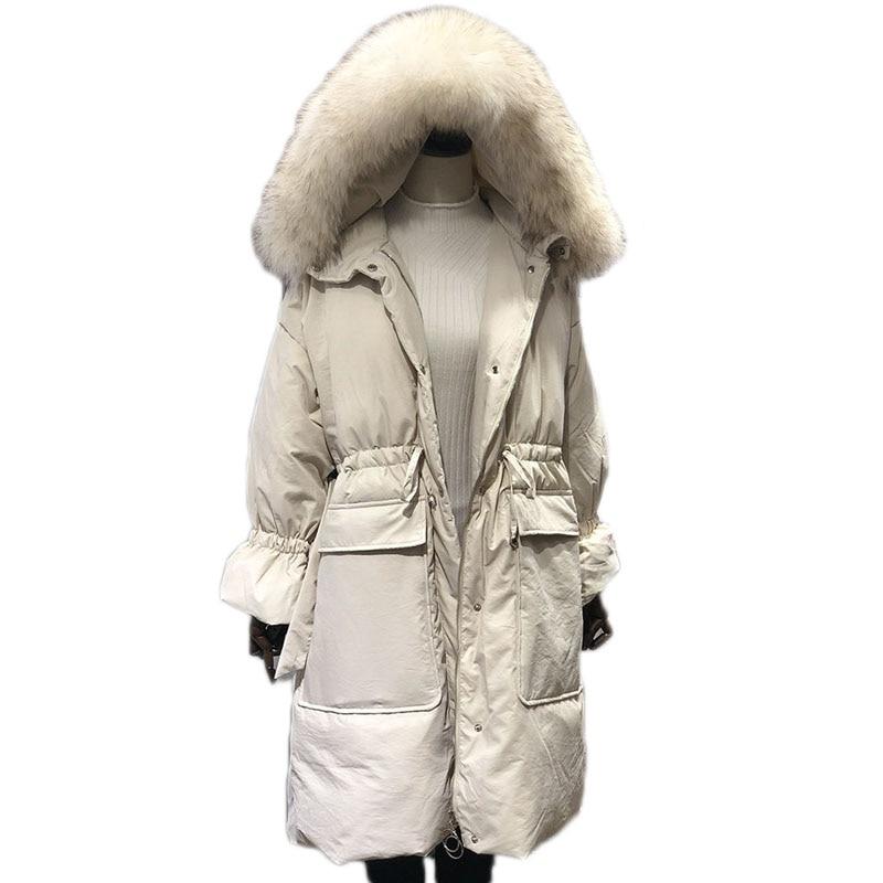 WSYORE Long Parka Loose 2018 New Raccoon Fur Collar Hooded   Down   Jacket Thick Winter Women Jacket Duck   Down     Coat   Jacket NS783