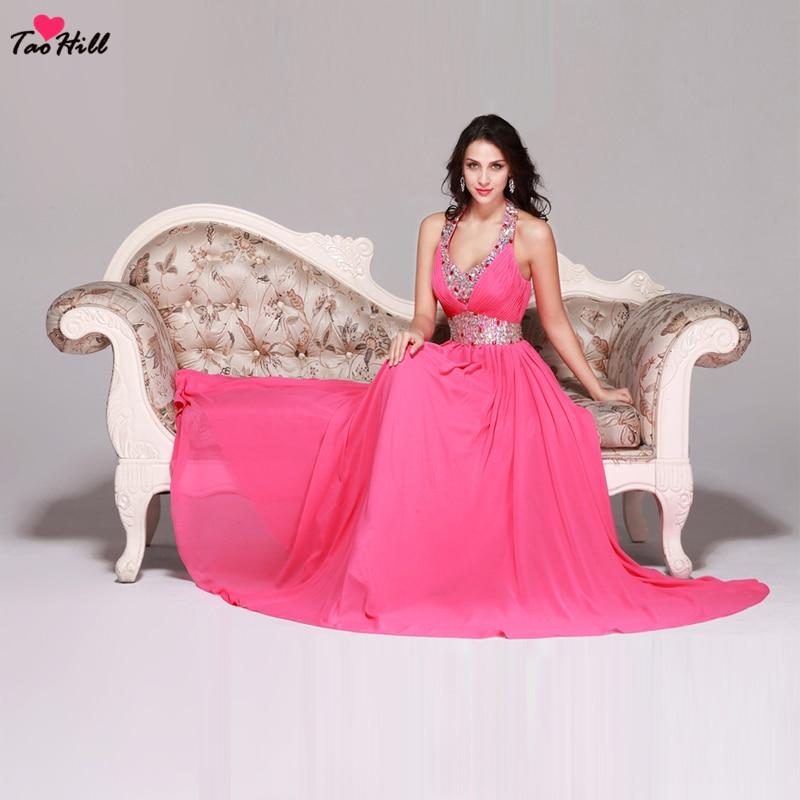 TaoHill licou robes de demoiselle d'honneur pour mariage a-ligne v-cou rose vif mousseline de soie robe de demoiselle d'honneur