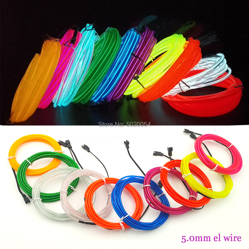 Night Dance Clothing Decor 5.0mm Neon Light Cable Felxible EL Wire Rope Cable Tube Waterproof Luminous Wire