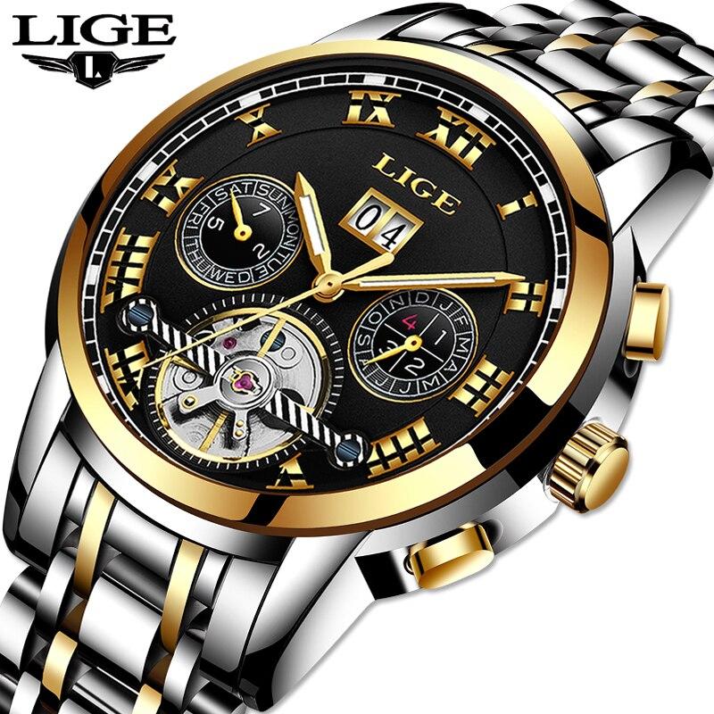 LIGE лучший бренд класса люкс Для мужчин автоматические механические часы все Сталь Водонепроницаемый часы Мужская Мода Бизнес часы Relogio ...